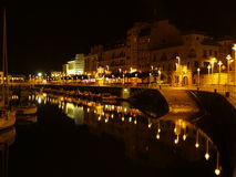 Port de Gijon la nuit Image libre de droits