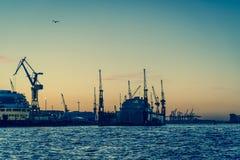 Port de Hambourg sur l'Elbe, Hambourg, Allemagne images stock