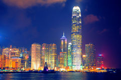 Port de Hong Kong la nuit Photographie stock