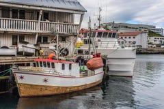 Port de Honningsvag dans le mark finlandais, Norvège Photos stock