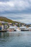 Port de Honningsvag dans le mark finlandais, Norvège Photographie stock libre de droits