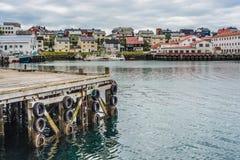 Port de Honningsvag dans le mark finlandais, Norvège Photographie stock