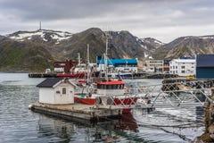 Port de Honningsvag dans le mark finlandais, Norvège Images libres de droits
