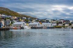 Port de Honningsvag dans le mark finlandais, Norvège Photos libres de droits