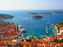 Port de Hvar, Croatie Photos libres de droits