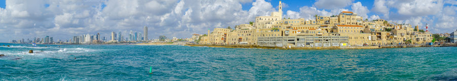 Port de Jaffa et de la vieille ville de Jaffa Photo stock