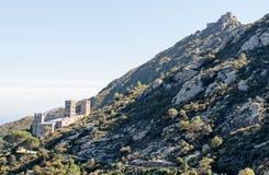 PORT DE LA SELVA (ESPAÃ ` A) -修道院SANT PERE DE RODES 免版税图库摄影