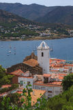 Port de la Selva view. Port de la Selva view of the sea and the Church royalty free stock image