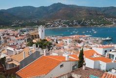 Port de la Selva view of the town in the Mediterranean sea. Port de la Selva view of the sea and the Church Stock Image