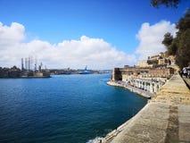 Port de La Valette Malte des bastions de la ville photographie stock libre de droits