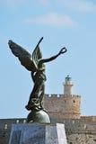Port de Mandraki de borne limite de Rhodes Photos libres de droits