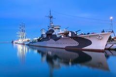 Port de mer baltique à Gdynia la nuit Images libres de droits