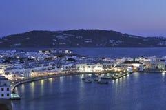 Port de Mykonos la nuit Image libre de droits