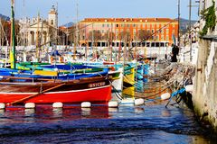 Port de Nice, France. Beautiful picture of colorful boats in the Nice Harbour Royalty Free Stock Photos