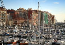 Port de Nice in French Riviera. Boats and yachts docked at the Port de Nice in French Riviera Stock Photo