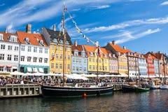 Port de Nyhavn à Copenhague, Danemark Images libres de droits