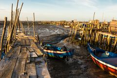 Port de pêche antique de Carrasqueira Photos libres de droits