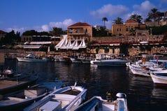 Port de pêche antique de Byblos Images libres de droits