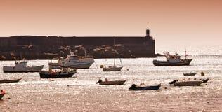 Port de pêche de la Galicie Photographie stock