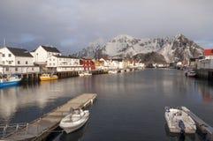 Port de pêche de Svolvaer dans les îles de Lofoten Images stock