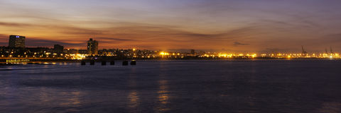 port de panorma de soirée d'elizabth Images libres de droits