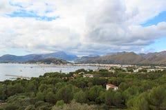 Port de Pollenca mountain panorama and Mediterranean Sea, Majorca Stock Photos