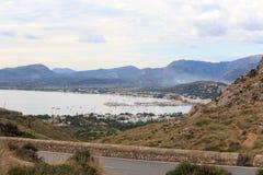 Port de Pollenca mountain panorama and Mediterranean Sea, Majorca Stock Image