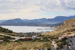 Port de Pollenca mountain panorama and Mediterranean Sea, Majorca Royalty Free Stock Photos