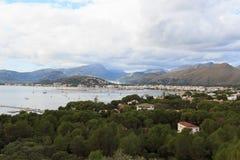 Port de Pollenca mountain panorama and Mediterranean Sea, Majorca Stock Images