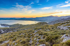 Port de Pollenca, puesta del sol de Mallorca Imagenes de archivo