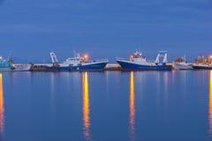 Port de Pothia la nuit, Kalymnos Grèce Photos stock