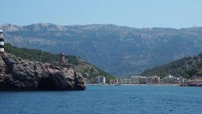 Port de Soller, Μαγιόρκα, Ισπανία Άποψη του κόλπου και του χωριού από τη βάρκα φιλμ μικρού μήκους