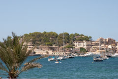 Port de Soller. Image showing the small harbour of Soller, know on Mallorca as Port de Soller, nowadays a fancied travel destination on the island of Mallorca stock photo