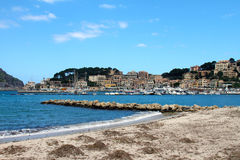 Port de Soller de Majorque avec des bateaux Photographie stock libre de droits