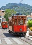 PORT DE SOLLER, MAJORCA - JULY 12, 2012: Vintage tram in a street of Port de Soller. Majorca royalty free stock photos