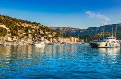 Port de Soller Majorca Spain Mediterranean Sea. View of the marina Port de Soller with beautiful landscape, Mallorca Spain, Mediterranean Sea, Balearic Islands royalty free stock images
