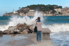 Port de Soller on Majorca at storm Stock Image