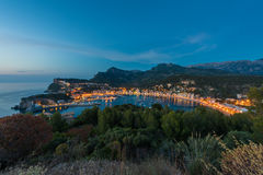 Port de Soller Mallorca at dusk. High angle view on coastal village of Port de Soller, Mallorca, Balearic Islands, Spain around dusk Stock Image