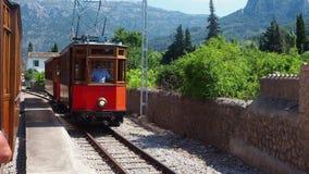 Port de Soller, Mallorca, Spain. The old electric tram running between Soller and the downtown of Port de Soller. Summer time stock video