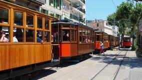 The old electric tram running between Soller and the downtown of Port de Soller. Port de Soller, Mallorca, Spain. The old electric tram running between Soller stock video footage