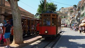 The old electric tram running between Soller and the downtown of Port de Soller stock video