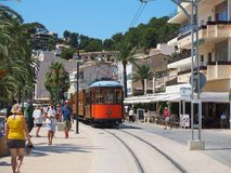 The old electric tram running between Soller and the downtown of Port de Soller. Port de Soller, Mallorca, Spain. The old electric tram running between Soller Royalty Free Stock Photography