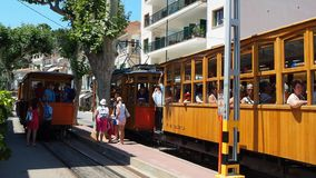 Port de Soller, Mallorca, Spain. The old electric tram running between Soller and the downtown of Port de Soller. Summer time stock footage