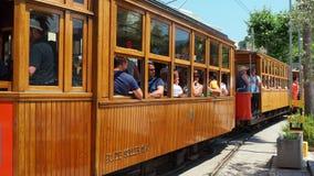 Port de Soller, Mallorca, Spain. The old electric tram running between Soller and the downtown of Port de Soller stock footage