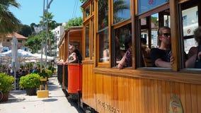 Port de Soller, Mallorca, Spain. The old electric tram running between Soller and the downtown of Port de Soller stock video footage