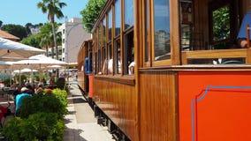Port de Soller, Mallorca, Spain. The old electric tram running between Soller and the downtown of Port de Soller stock video