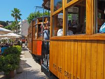 Port de Soller, Mallorca, Spain. The old electric tram running between Soller and the downtown of Port de Soller stock images
