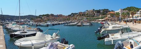 Port de Soller, Mallorca, Spain. The port during the summer season royalty free stock photography