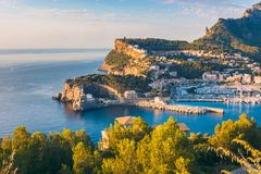 Port de Soller Mallorca at Sunset. High Angle View on Port de Soller, Mallorca, Balearic Islands, Spain at Sunset Stock Image