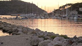 Resort town Port de Soller stock video footage